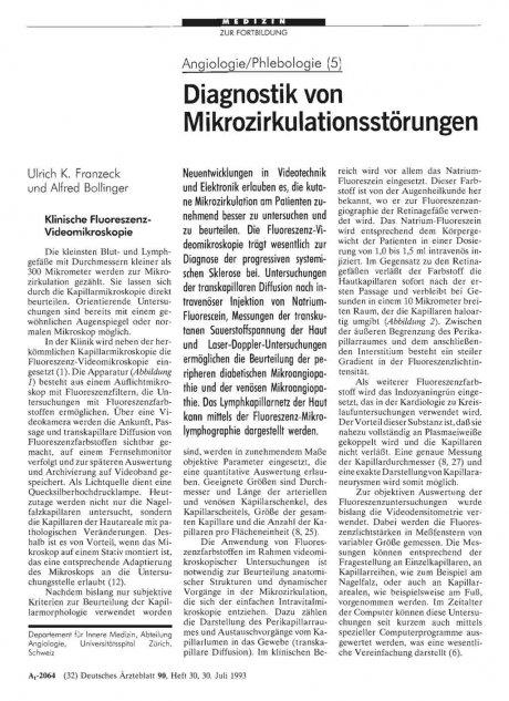 Angiologie/Phlebologie (5): Diagnostik von Mikrozirkulationsstörungen