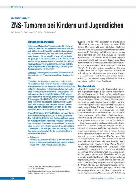 ZNS-Tumoren bei Kindern und Jugendlichen