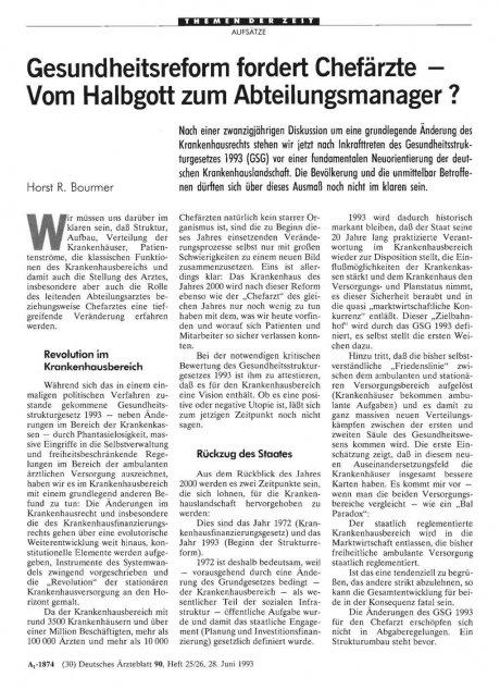 Gesundheitsreform fordert Chefärzte – Vom Halbgott zum Abteilungsmanager ?