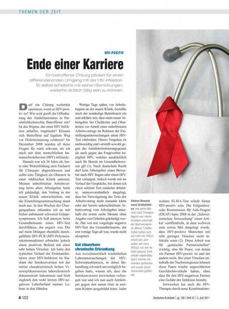 HIV-positiv: Ende einer Karriere