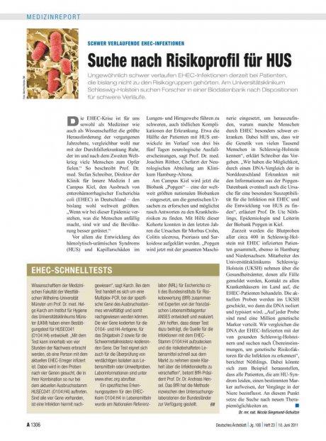 Schwer verlaufende EHEC-Infektionen: Suche nach Risikoprofil für HUS