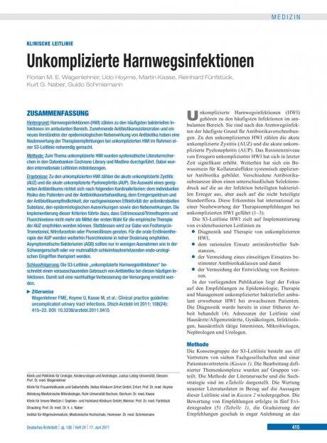 Unkomplizierte Harnwegsinfektionen