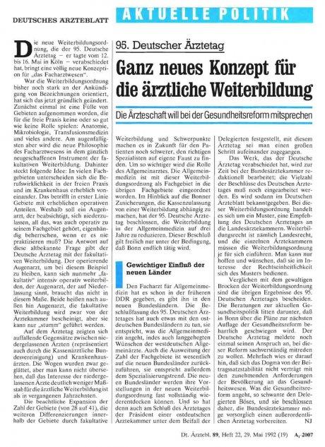 95. Deutscher Ärztetag: Ganz neues Konzept für die ärztliche Weiterbildung