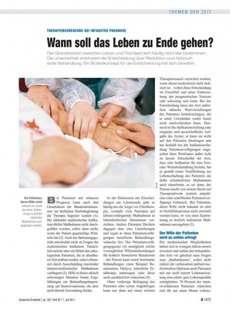 Therapiebegrenzung bei infauster Prognose: Wann soll das Leben zu Ende gehen?