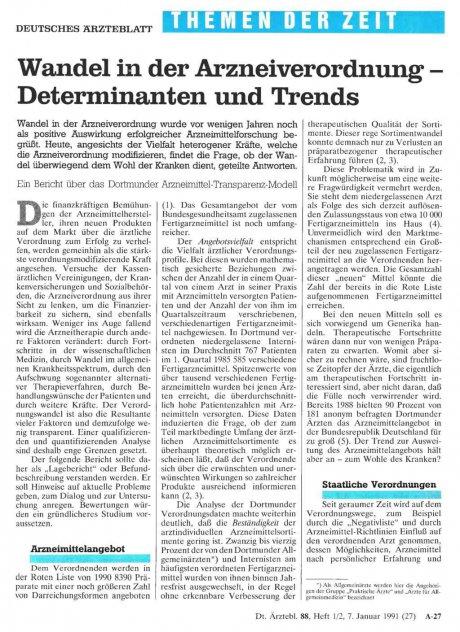 Wandel in der Arzneiverordnung - Determinanten und Trends