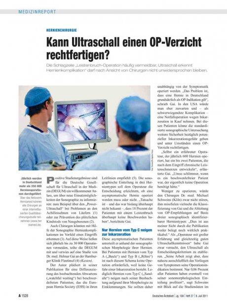 Hernienchirurgie: Kann Ultraschall einen OP-Verzicht rechtfertigen?