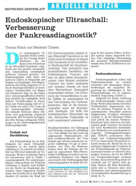 Endoskopischer Ultraschall: Verbesserung der Pankreasdiagnostik?
