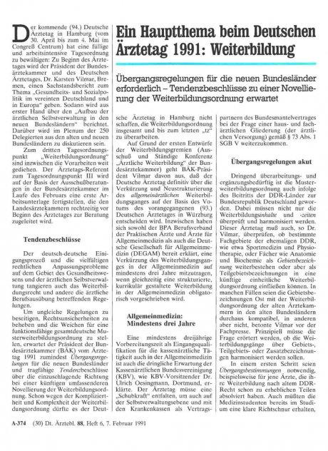 Ein Hauptthema beim Deutschen Ärztetag 1991: Weiterbildung
