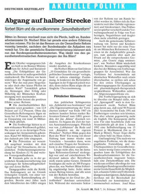 """Abgang auf halber Strecke: Norbert Blüm und die unvollkommene """"Gesundheitsreform"""""""