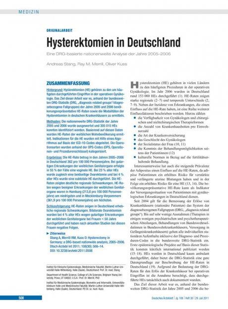 Hysterektomien in Deutschland