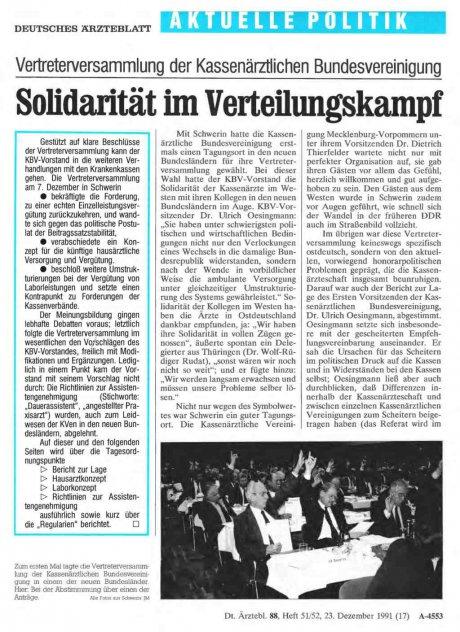 Vertreterversammlung der Kassenärztlichen Bundesvereinigung: Solidarität im Verteilungskampf
