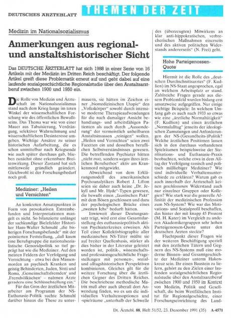 Medizin im Nationalsozialismus: Anmerkungen aus regional- und anstaltshistorischer Sicht