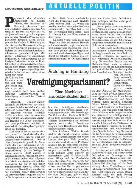 Ärztetag in Hamburg: Vereinigungsparlament? Eine Nachlese aus ostdeutscher Sicht