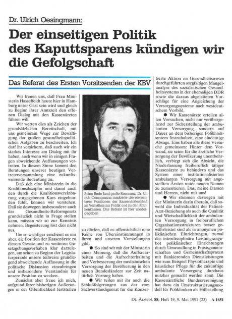 Dr. Ulrich Oesingmann: Der einseitigen Politik des Kaputtsparens kündigen wir die Gefolgschaft