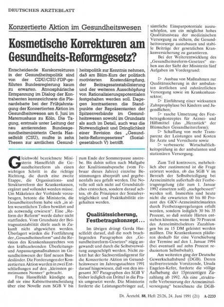 Konzertierte Aktion im Gesundheitswesen: Kosmetische Korrekturen am Gesundheits-Reformgesetz?