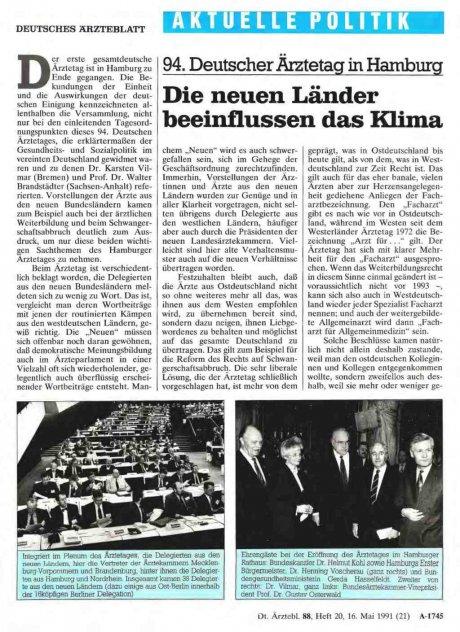 94. Deutscher Ärztetag in Hamburg: Die neuen Länder beeinflussen das Klima