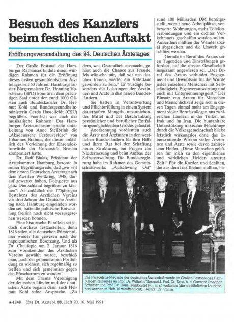 Besuch des Kanzlers beim festlichen Auftakt: Eröffnungsveranstaltung des 94. Deutschen Ärztetages