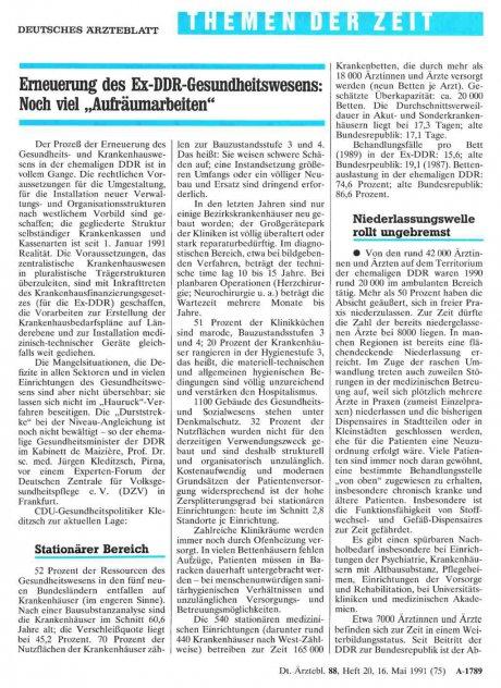 """Erneuerung des Ex-DDR-Gesundheitswesens: Noch viel """"Aufräumarbeiten"""""""