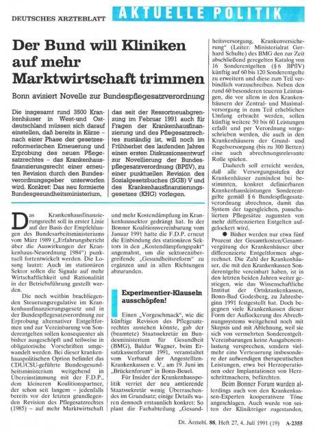Der Bund will Kliniken auf mehr Marktwirtschaft trimmen