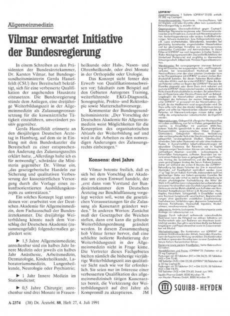 Allgemeinmedizin: Vilmar erwartet Initiative der Bundesregierung