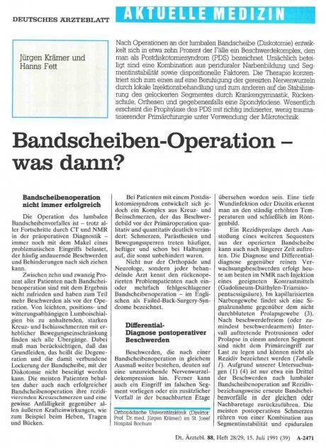 Bandscheiben-Operation – was dann?