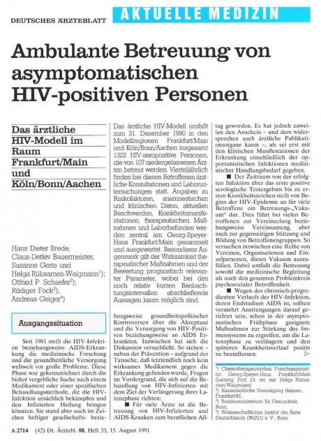 Ambulante Betreuung von asymptomatischen HIV-positiven Personen: Das ärztliche HIV-Modell im Raum Frankfurt/Main und Köln/Bonn/Aachen