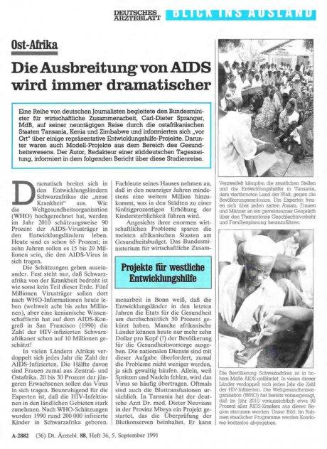 Ost-Afrika: Die Ausbreitung von AIDS wird immer dramatischer