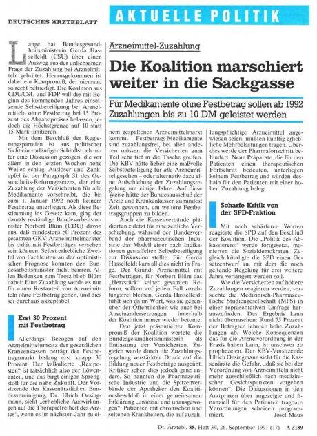 Arzneimittel-Zuzahlung: Die Koalition marschiert weiter in die Sackgasse