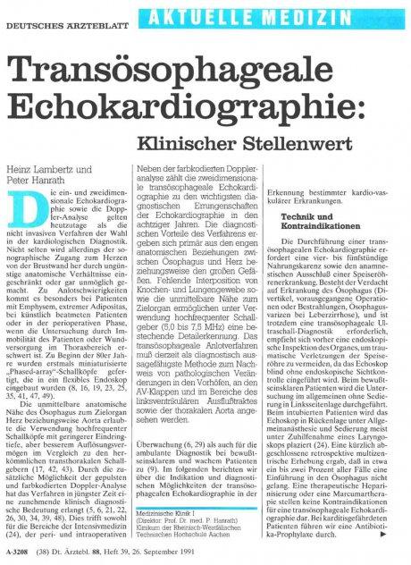 Transösophageale Echokardiographie: Klinischer Stellenwert