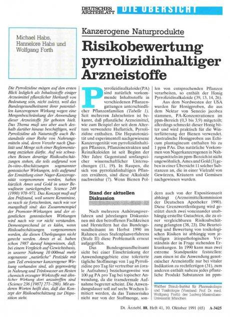Kanzerogene Naturprodukte: Risikobewertung pyrrolizidinhaltiger Arzneistoffe