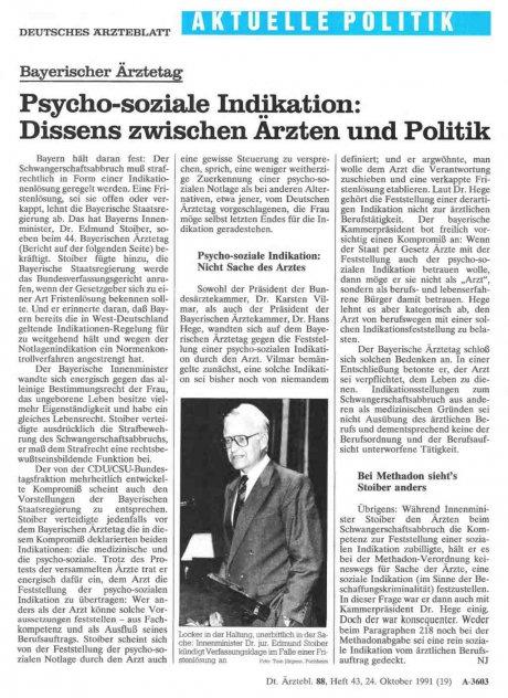 Bayerischer Ärztetag: Psycho-soziale Indikation: Dissens zwischen Arzten und Politik