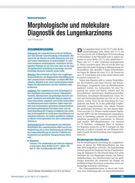Morphologische und molekulare Diagnostik des Lungenkarzinoms