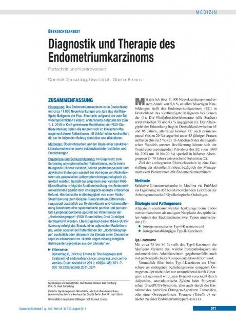 Diagnostik und Therapie des Endometriumkarzinoms