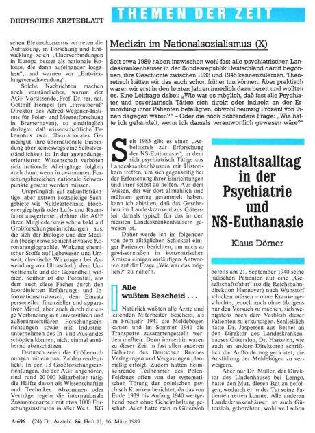 Anstaltsalltag in der Psychiatrie und NS-Euthanasie