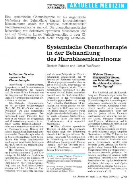 Systemfische Chemotherapie in der Behandlung des Harnblasenkarzinoms