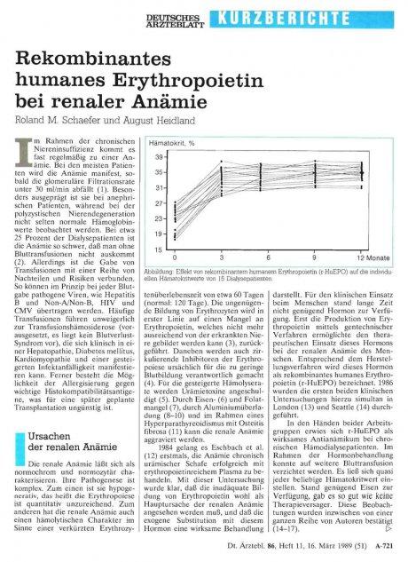Rekombinantes humanes Erythropoietin bei renaler Anämie