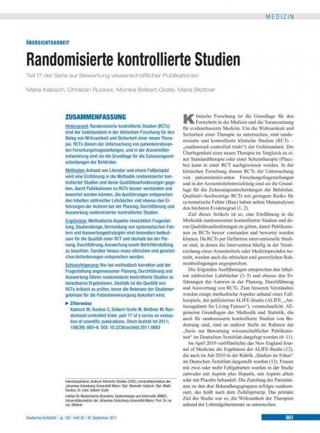 Randomisierte kontrollierte Studien