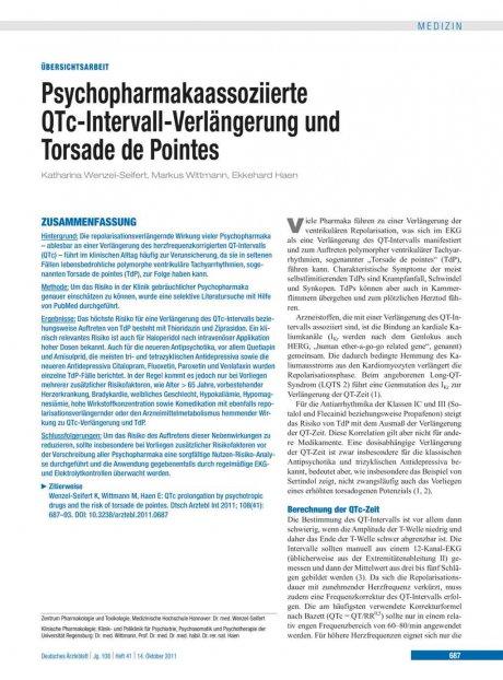 Psychopharmakaassoziierte QTc-Intervall-Verlängerung und Torsade de Pointes