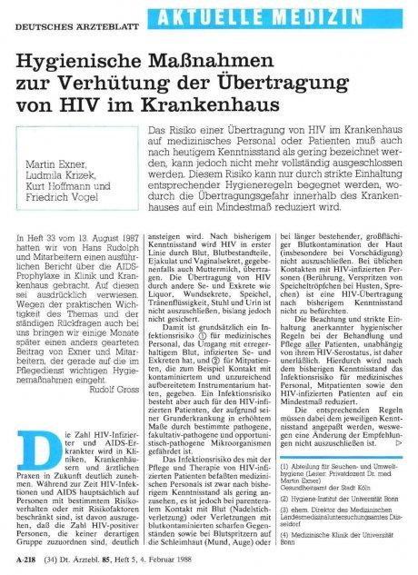 Hygienische Maßnahmen zur Verhütung der Übertragung von HIV im Krankenhaus