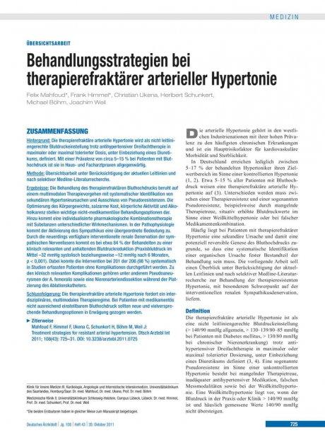 Behandlungsstrategien bei therapierefraktärer arterieller Hypertonie