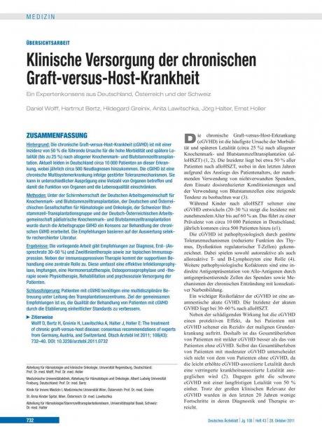 Klinische Versorgung der chronischen Graft-versus-Host-Krankheit