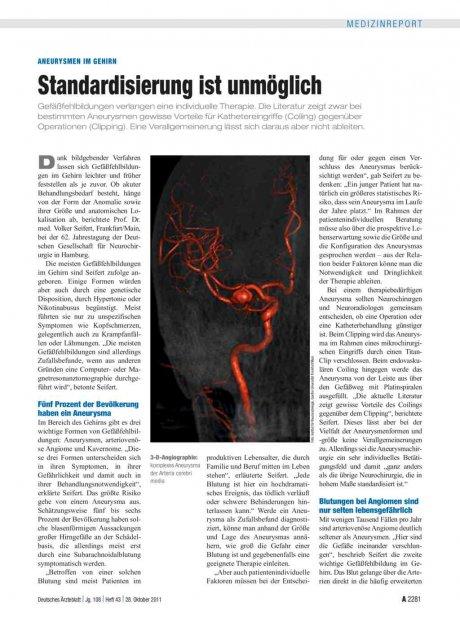 Aneurysmen im Gehirn: Standardisierung ist unmöglich