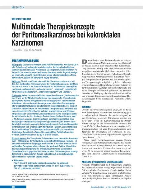 Multimodale Therapiekonzepte der Peritonealkarzinose bei kolorektalen Karzinomen