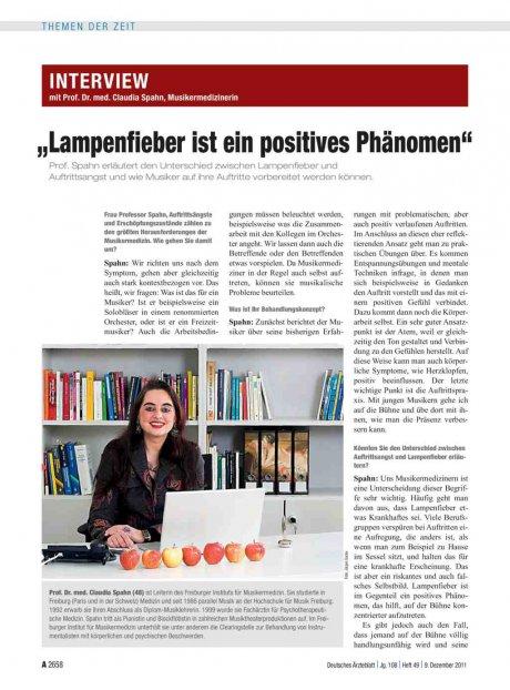 """Interview mit Prof. Dr. med. Claudia Spahn, Musikermedizinerin: """"Lampenfieber ist ein positives Phänomen"""""""
