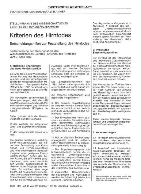 BEKANNTGABE DER BUNDESÄRZTEKAMMER: STELLUNGNAHME DES WISSENSCHAFTLICHEN BEIRATES DER BUNDESÄRZTEKAMMER - Kriterien des Hirntodes