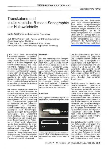 Transkutane und endoskopische B-mode-Sonographie der Halsweichteile