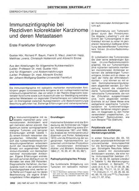 Immunszintigraphie bei Rezidiven kolorektaler Karzinome und deren Metastasen: Erste Frankfurter Erfahrungen