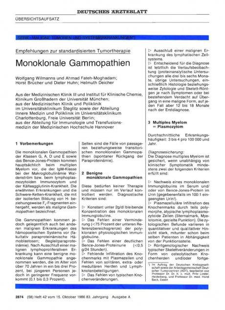 Serie: Maligne Tumoren und Systemerkrankungen *) - Empfehlungen zur standardisierten Tumortherapie: Monoklonale Gammopathien