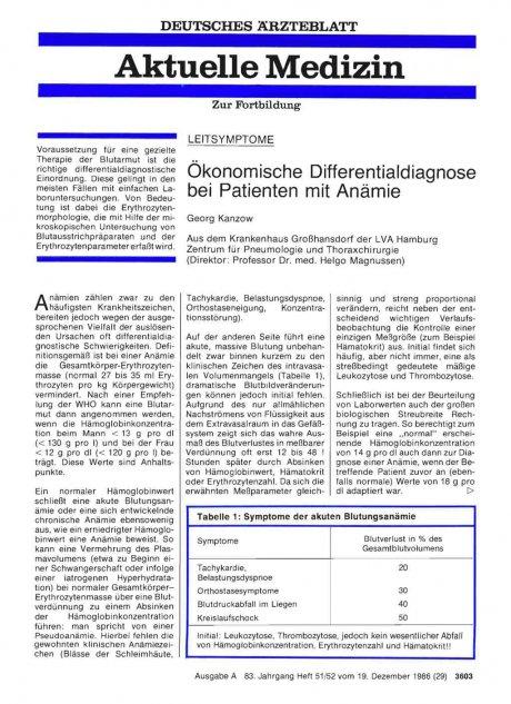 Ökonomische Differentialdiagnose bei Patienten mit Anämie