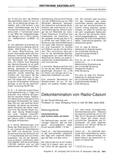 Dekontamination von Radio-Cäsium: Stellungnahme